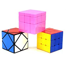 Heddi Magic Speed Cube Puzzle Stickerless Skewb Mirror Cubes - Pink 3*3*3 Brain Teaser Puzzle Cube Bundle Box Pack