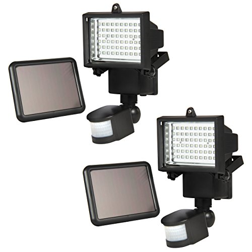 Best Choice Products 2-Pack Outdoor Solar Power Flood Light w 60 LED Lights, Motion Sensor, and Timer, Black