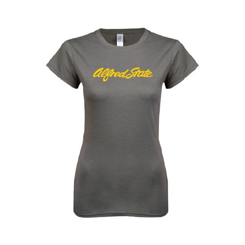 Alfred State Ladies Softstyle Junior Fitted Charcoal Tee 'Official Logo'