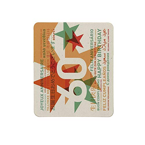 60th Birthday Decorations Non Slip Mouse Pad,World Cities Birthday Party with Abstract Stars for Home & Office,11