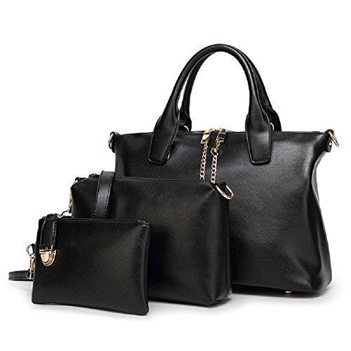 SYGoodBUY Bolso de mano de cuero de las mujeres Bolso de mano de gran capacidad + Bolso de Crossbody + Monedero de tres piezas (Color : Púrpura, tamaño : Un tamaño) Negro