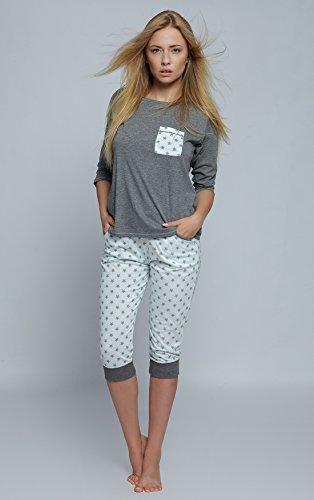 e EU made pantalone Grigio elasticizzato in Abbigliamento in pinocchietto in a Chiaro Con pigiama composto SENSIS Stelle da cotone Bianco maglietta da casa fondo stretto Sontuoso P1wRUTqxv