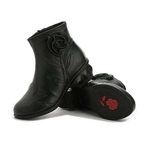 Antiordin Damesschoenen Lederen Booties Enkellaars Rits Zwart Fluweel