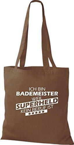Shirtstown Bolso de tela Estoy Salvavidas, weil Superheld sin Trabajo ist marrón medio