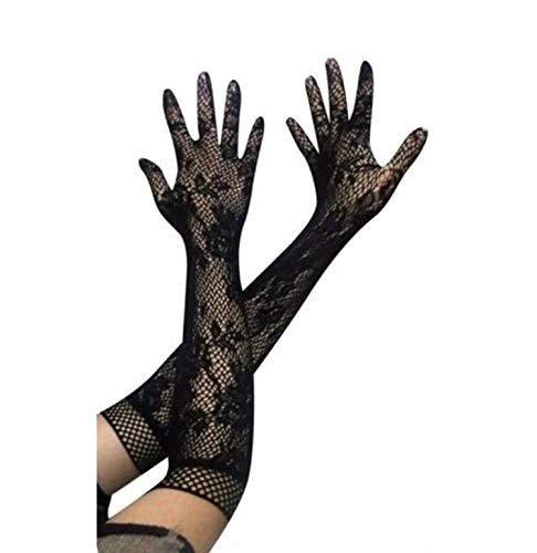 Ladies Girls Prom Hen Fancy Lace Elbow Length Elegant Burlesque Gloves French Maid Fishnet Old Up Lace Top Satin Bow,Black,One Size