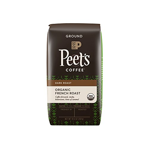 Peet's Coffee, People & Planet, Organic French Roast, Dark Roast, Ground Coffee, 10.5 oz. Bag, USDA Organic Coffee, Bold & Complex Dark Roast Blend of Latin American Coffees, Smoky Flavor & Bite