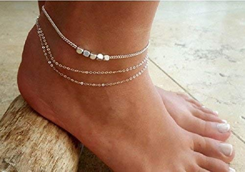 (Handmade Sterling Silver Layered Ankle Bracelet For Women Set With Silver Plated Beads By Galis Jewelry - Sterling Silver Anklet For Women)