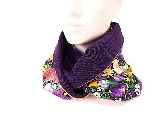 snood femme violet velours et tissu fleuri, echarpe infinie en velours et  viscose fleuri, tour de cou reversible, echarpe tube  Amazon.fr  Handmade b7a5bf7b1b4