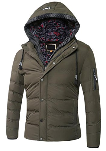 Jacket US Hoodie ArmyGreen EKU Zipper XL Slim Winter Men's Premium Down Coat xwfOFfq0T