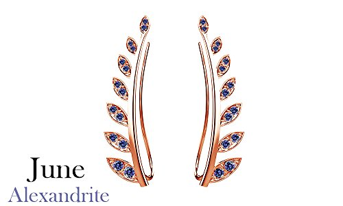Simulated Alexandarite Ear Crawler Cuff Earrings 14k Rose Gold Over Sterling Silver Climber Studs Olive Leaf ()