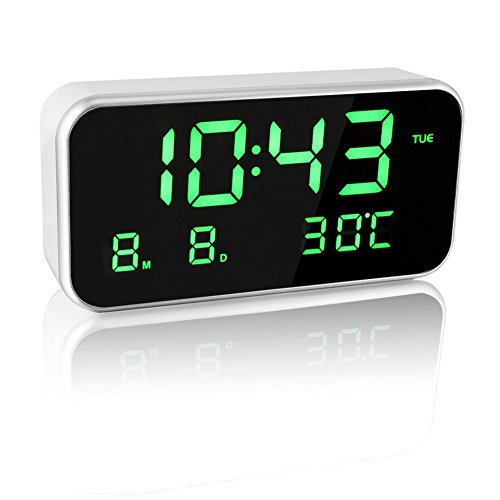 8.66inch×4.3inch Large Screen LED Digital Music Alarm Clock Multifunctional With Date,Time and Temperature Display, 25 World Famous Song,Volume Adjustable ,Automatic Brightness Adjustment