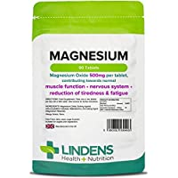 Lindens Magnesium 500mg Tablets | 90 Pack | Contributes towards normal energy yielding metabolism, muscle function, nervous system, bones, teeth and the reduction of tiredness and fatigue