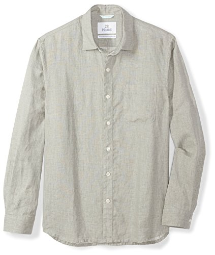 Hawaiian Linen (28 Palms Men's Standard-Fit Long-Sleeve 100% Linen Shirt, Grey, X-Large)