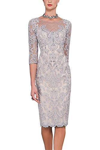 - Newdeve Women's Mother of The Bride Dresses with Lace Jacket Short for Wedding Silver Grey