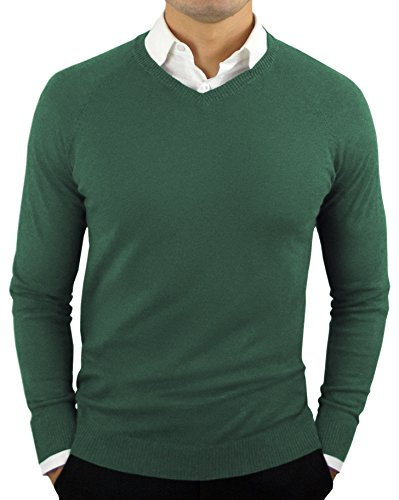 Comfortably Collared Men's Perfect Slim Fit Lightweight Soft Fitted V-Neck Pullover Sweater, X Large, Dark Green2
