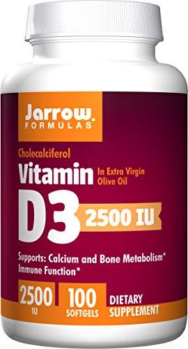 Jarrow Formulas Vitamin D3, Supports Calcium and Bone Metabolism, Immune Function, 2500IU, 100 Softgels (Pack of 2)