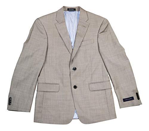 Tommy Hilfiger Mens 2 Button Side Vent Trim Fit 100% Wool Suit Separate Jacket, Tan Solid, 36 Short