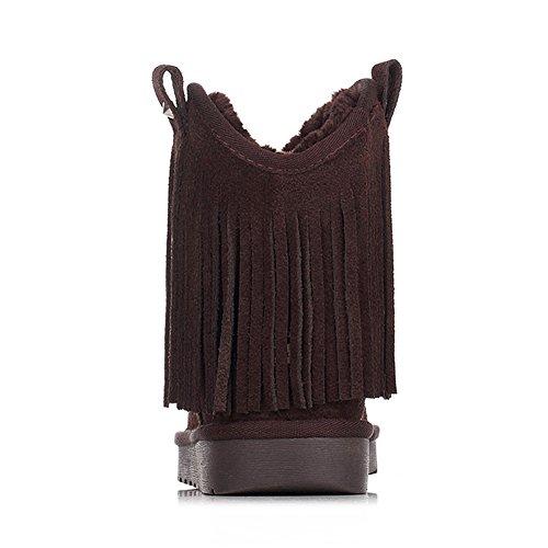 la Tobillo Ante Bota Borla de Alto Moda SN2801 Mujer Nieve Rismart Café Cuero qpazEq