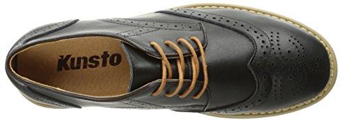 Zapatos De Vestir De Cuero Brogue Kunsto Para Hombre Con Cordones Negros