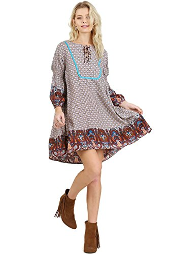 Lace Border Print Dress - 1