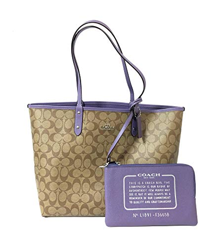Coach F36609 Reversible PVC City Signature Tote Khaki Light Purple Lilac