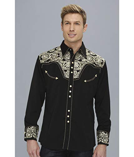 Scully Men's Floral Embroidered Western Shirt Gold XX-Large