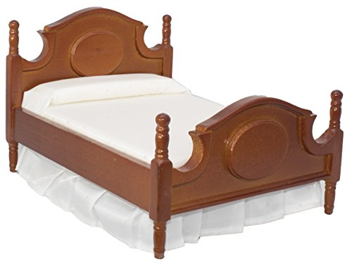 (Inusitus Dollhouse Queen Bed | Detailed Wooden Design | with Mattress & Pillow | Dolls House Accessories | 1