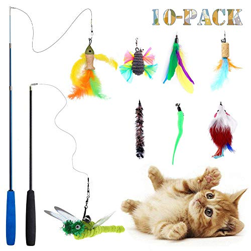 Teeyee [10 in 1 Cat Feather Toys, Cat Retractable Teaser Wand Toy Set, Interactive Cat Chaser Toy Exercising Kitten Cat, Included 2 Wands & 8 Refills Feathers