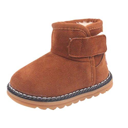 Clode® Winter-Weich Sohle Krippe Warm Knopf Wohnungen Cotton Boots Braun