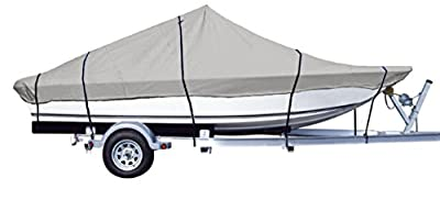 iCOVER Water Proof Heavy Duty Trailerable Boat Cover,Fits V-HULL CENTER CONSOLE BOAT 17ft-24ft Long and Beam Width up to 102in, Windshield height up to 30in,Grey Color, B7302