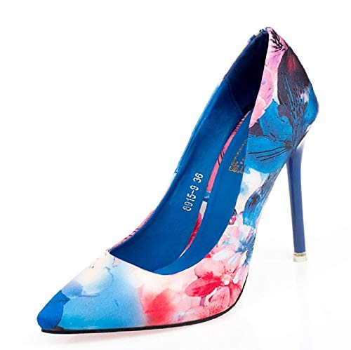 Qiusa Bleu coloré Chaussures Imprimé Pompes EU 36 Pointu Talon Femmes Haut Bleu Sexy Fleur Bout Taille wwRBq