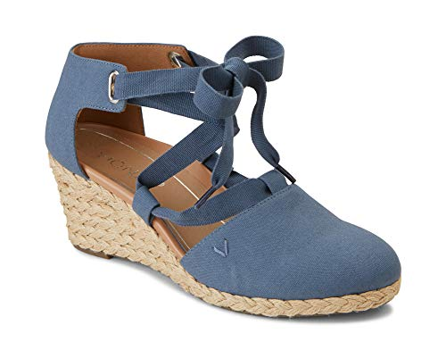 Vionic Women's Aruba Kaitlyn Lace-up Wedge - Ladies Espadrille Wedges with Concealed Orthotic Arch Support Denim 8 W US