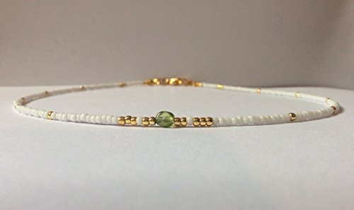 Peridot Beaded Choker//Seed Bead Choker//Tiny Gemstone Bead Choker//Green, White, Rose Gold Beaded Choker Necklace
