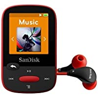 SanDisk Clip Sport 4GB MP3 Player, Red With LCD Screen and MicroSDHC Card Slot- SDMX24-004G-G46R (Certified Refurbished) …