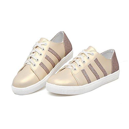 Amoonyfashion Mujeres Pu Low-heels Round-toe Assorted Color Con Cordones Bombas-zapatos De Oro