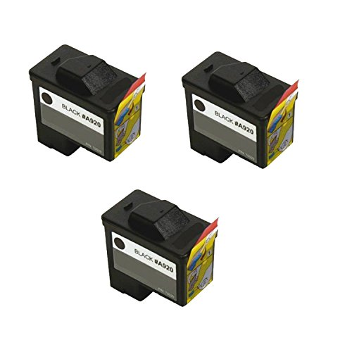 A920 Black Ink - Compatible 3-pack Dell Series 1 720/A920 Black Ink Cartridge (T0529)