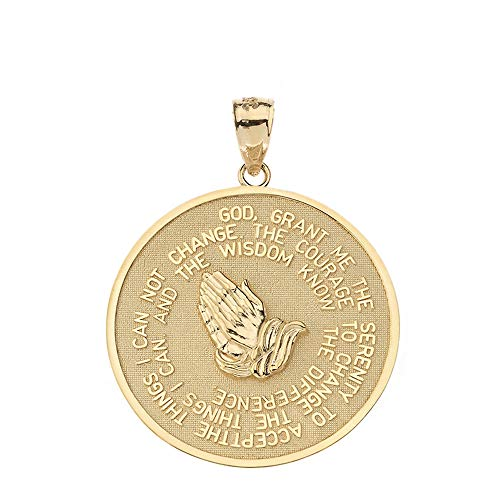 10k Yellow Gold Serenity Prayer with Praying Hands and Lord's Prayer Medallion Pendant (S)
