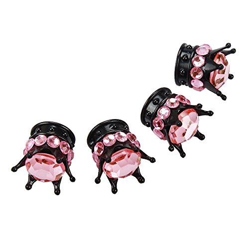 TASIRO Pure Handmade Bling Bling Rhinestones Valve Stem Caps-4 Pack (Black/Pink Valve Cap)