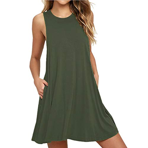 CGTL Casual Night Dress Pocket Relaxed, Women's Sleeveless Swing Loose Simple Soft Comfy Maternity Casual Spring T-Shirt Tank Shift Tunic Mini Dress, Army Green, XX-Large