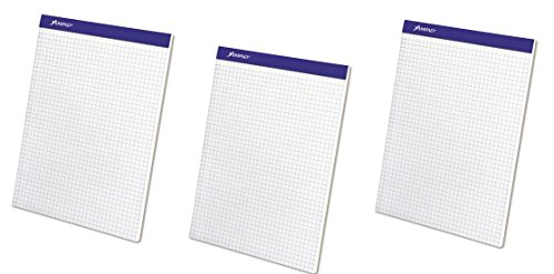 Ampad Evidence Quad Dual-Pad, Quadrille Rule, Letter Size (8.5 x 11.75), White, 100 Sheets per Pad (20-210) (Pack of 3) by Ampad