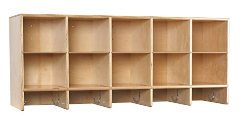 Childcraft 1464167 Wall Coat Locker, 10-Cubby, Wood, 47-3/4