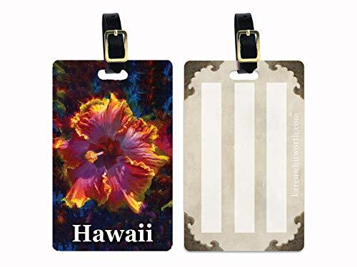 Hawaiian Hibiscus Luggage Tag- Travel Vacation Gift Idea - Rainbow Hibiscus Painting print - Hawaiian Cruise Traveler Accessory Gifts Tags