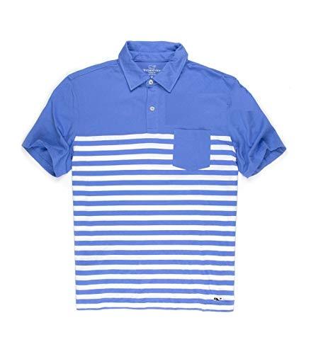 Vineyard Vines Mens Jersey Polo Short Sleeve Breaker Blue T-shirt (L, Breaker Blue)