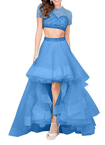 Tuell Elegant Festlichkleider A Partykleider Rock Hi Kurzarm linie Lang Charmant Damen lo Blau Abendkleider PqwAA4