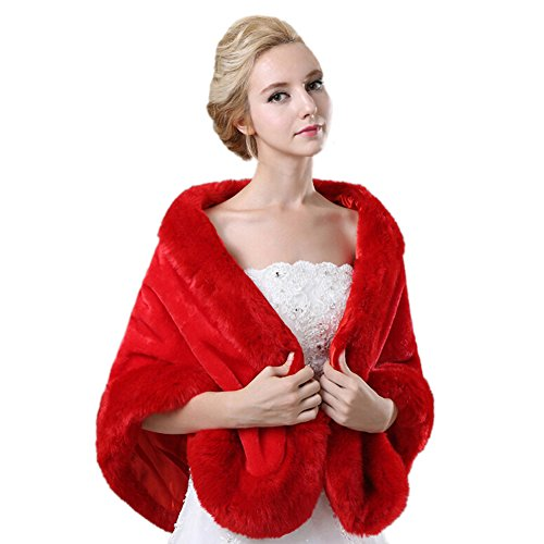Liveinu Women's Red Faux Fur Wrap Shawl Bolero Cape Stole