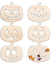 LUTER 6 Pcs 11 X 10 inch Halloween Wooden Pumpkin , Blank Pumpkin Wood Slices Unfinished Wooden Halloween Wood Cutouts Crafts for Halloween Fall DIY Crafts Party Home Decorations