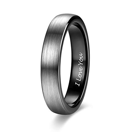 4mm Thin Tungsten Carbide Rings for Women Men Engraved I Love You Wedding Band Brushed Black Comfort Fit Size 10