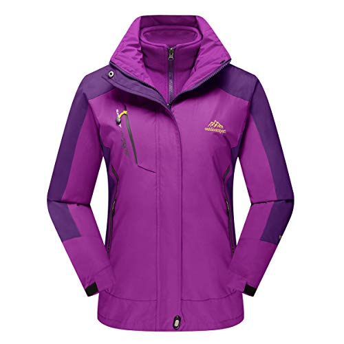 Hood Fleece 1 - CRYSULLY Women's Outdoor Jacket 3 in 1 Ski Mountain Coat with Inner Warm Fleece Parka Jacket Purple