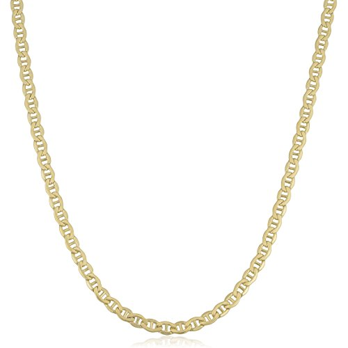 Kooljewelry 14K Yellow Gold Filled Solid 4 mm Mariner Link Chain Necklace (20 inch)