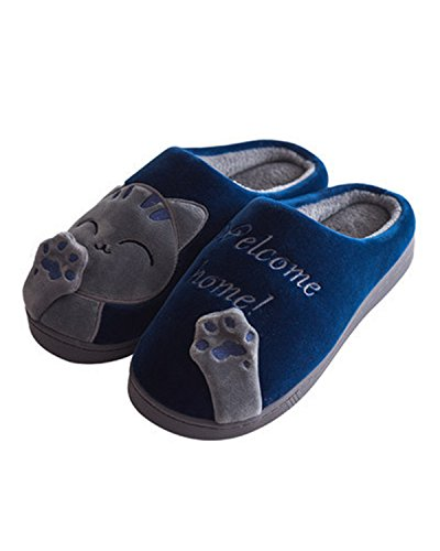 WILLIAM&KATE Womens Slippers Warm Cute Skid Soft Cotton Causl Slippers Plus at Home Dark Blue nvU1B4A
